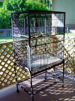 Large bird cage on wheels...suit all types of pet birds....