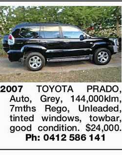 2007 TOYOTA PRADO, Auto, Grey, 144,000klm, 7mths Rego, Unleaded, tinted windows, towbar, good con...