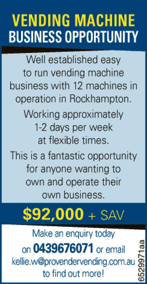 VENDING MACHINE BUSINESS OPPORTUNITY