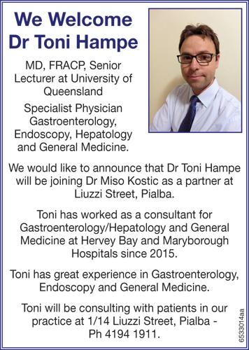 We Welcome Dr Toni Hampe MD, FRACP   Senior Lecturer at University of Queensland   ...