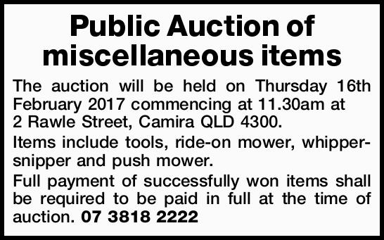 Public Auction of miscellaneous items