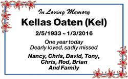 In Loving Memory Kellas Oaten (Kel) 2/5/1933 ~ 1/3/2016 One year today Dearly loved, sadly missed...