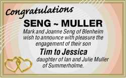 SENG ~ MULLER Mark and Joanne Seng of Blenheim wish to announce with pleasure the engagement of t...