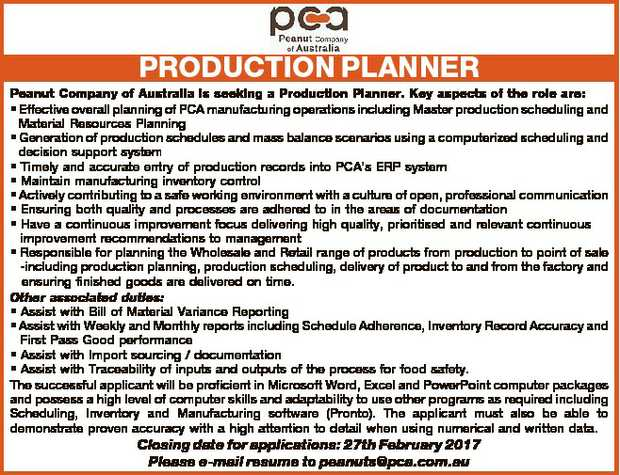 Peanut Company of Australia is seeking a Production Planner