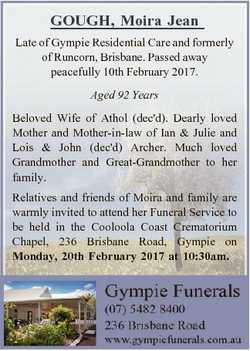 GOUGH, Moira Jean Late of Gympie Residential Care and formerly of Runcorn, Brisbane. Passed away pea...