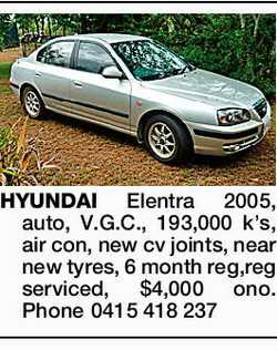 HYUNDAI Elentra 2005, auto, V.G.C., 193,000 k's, air con, new cv joints, near new tyres, 6...