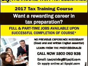 2017 Tax Training Course Want a rewarding career in tax preparation? FULL & PART-TIME JOBS AVAILABLE UPON SUCCESSFUL COMPLETION OF COURSE* NO PREVIOUS EXPERIENCE NECESSARY (Good oral and written English essential) LEARN FROM THE PROFESSIONALS! Email: taxtraining@itpqld.com Or apply online at itpqld.com * Conditions Apply. NOTE-- course specifically designed ...