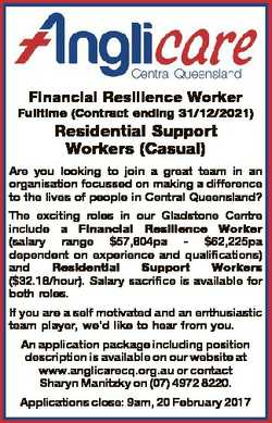 Financial Resilience Worker Fulltime (Contract ending 31/12/2021) Residential Support Workers (Casua...