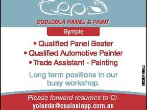 * Qualified Panel Beater * Qualified Automotive Painter * Trade Assistant - Painting Long term positions in our busy workshop. Please forward resumes to C/yolanda@cooloolapp.com.au or telephone 0437 533 100 / (07) 5482 5111 6536449ac Gympie