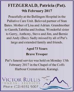 FITZGERALD, Patricia (Pat). 9th February 2017 Peacefully at the Bellingen Hospital in the Pallative...