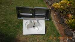 Clarke Twin Tub Basin Plus Vanity With Taps.