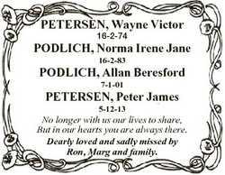 PETERSEN, Wayne Victor 16-2-74 PODLICH, Norma Irene Jane 16-2-83 PODLICH, Allan Beresford 7-1-01 PET...