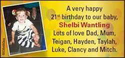 6538482aa A very happy 21st birthday to our baby, Shelbi Wantling Lots of love Dad, Mum, Teigan, Hay...