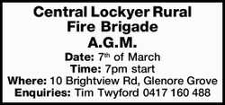 Central Lockyer Rural Fire Brigade A.G.M. Date: 7th of March Time: 7pm start Where: 10 Brightview...