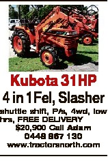 Kubota 31HP 4 in 1Fel, Slasher shuttle shift, P/s, 4wd, low hrs, FREE DELIVERY $20,900 Call Adam 044...