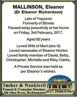 MALLINSON, Eleanor (Dr Eleanor Richardson) Late of Yeppoon Formerly of Biloela Passed away peacefull...