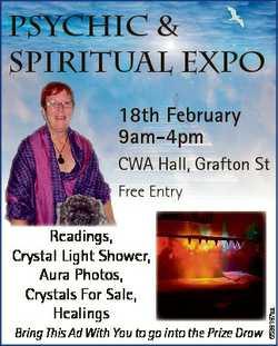 Psychic & Spiritual Expo 18th February 9am-4pm CWA Hall, Grafton St Readings, Crystal Light Show...