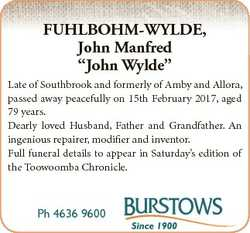 """FUHLBOHM-WYLDE, John Manfred """"John Wylde"""" Late of Southbrook and formerly of Amby and Allo..."""
