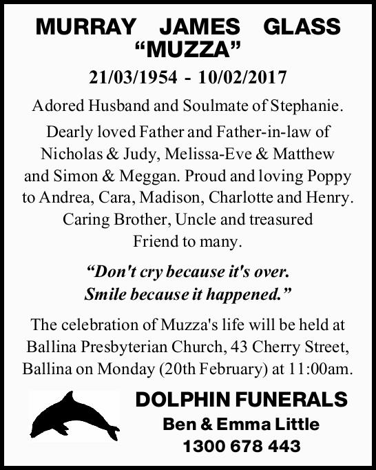 21/03/1954 - 10/02/2017 Adored Husband and Soulmate of Stephanie. Dearly loved Father and Father-...