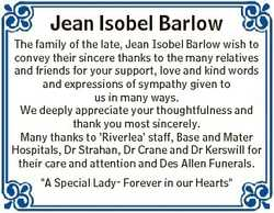 Jean Isobel Barlow The family of the late, Jean Isobel Barlow wish to convey their sincere thanks to...