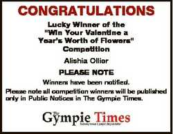 """CONGRATULATIONS Lucky Winner of the """"Win Your Valentine a Year's Worth of Flowers"""" Com..."""