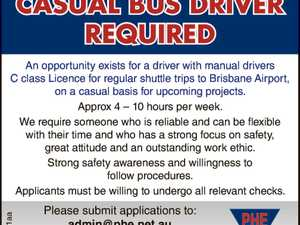 CASUAL BUS DRIVER REQUIRED An opportunity exists for a driver with manual drivers C Licence for regular shuttle trips to Brisbane Airport, on a casual basis for upcoming projects. Approximately 4 – 10 hours per week. We require someone who is reliable and can be flexible with their time and who ...
