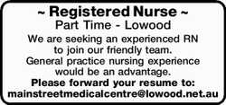 ~ Registered Nurse ~ Part Time - Lowood We are seeking an experienced RN to join our friendly tea...