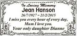 In Loving Memory Jean Hanson 26/7/1927  21/2/2015 I miss you every hour of every day, Mum I love you...
