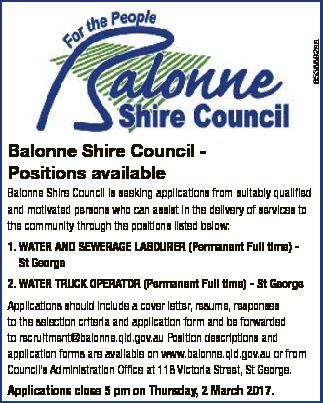 Balonne Shire Council Positions available Balonne Shire Council is seeking applications from suit...