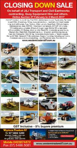 Closing Down Sale Online Auction 27 February to 3 March 2017 www.westerntraders87.com.au 0423 874...