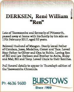 "6542680aa DERKSEN, Rene William ""Ren"" Late of Toowoomba and formerly of Pittsworth, passed..."