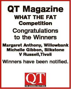 QT Magazine WHAT THE FAT Competition Congratulations to the Winners Margaret Anthony, Willowbank Mic...