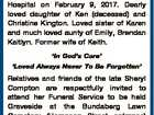 COMPTON, Sheryl Maree (nee Kington). Aged 46 years. Late of Bundaberg. Passed away unexpectedly at the Royal Brisbane & Women's Hospital on February 9, 2017. Dearly loved daughter of Ken (deceased) and Christine Kington. Loved sister of Karen and much loved aunty of Emily, Brendan Kaitlyn. Former wife of Keith ...