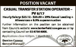 POSITION VACANT CASUAL TRANSFER STATION OPERATOR - PV 6/17 Applications close 4.00pm, 1 March 2017....
