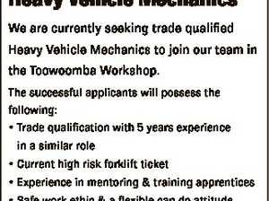 Heavy Vehicle Mechanics We are currently seeking trade qualified Heavy Vehicle Mechanics to join our team in the Toowoomba Workshop. The successful applicants will possess the following: * Trade qualification with 5 years experience in a similar role * Current high risk forklift ticket * Experience in mentoring & training apprentices * Safe work ethic ...