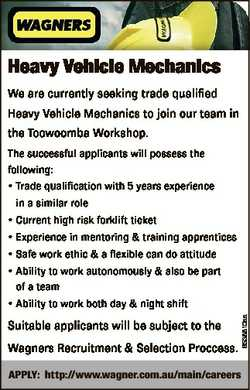Heavy Vehicle Mechanics We are currently seeking trade qualified Heavy Vehicle Mechanics to join our...