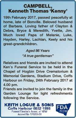 CAMPBELL, Kenneth Thomas `Kenny' 19th February 2017, passed peacefully at home, late of Bonville...