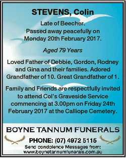 STEVENS, Colin Late of Beecher. Passed away peacefully on Monday 20th February 2017. Aged 79 Years L...
