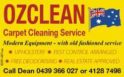 OZCLEAN Carpet Cleaning Service 6281487aa Modern Equipment - with old fashioned service  UPHOLSTERY...