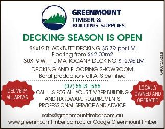 86x19 BLACKBUTT DECKING $5.79 per LM  Flooring from $62.00m2  130X19 WHITE MAHOGANY...