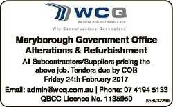 Maryborough Government Office Alterations & Refurbishment All Subcontractors/Suppliers pricing t...