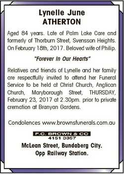 Lynelle June ATHERTON Aged 84 years. Late of Palm Lake Care and formerly of Thorburn Street, Svensso...