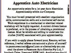 You must be well presented with excellent organisation skills, communication skills and a motivated self-starter. Work experience in a mechanical or electrical related workshop will be highly regarded. A current drivers licence is preferred, or in the process of obtaining a provisional licence. Must be reliable and willing to undertake ...