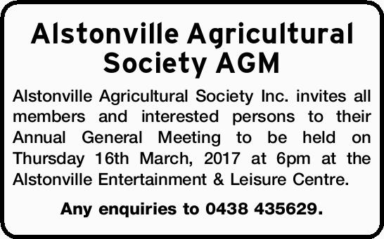 Alstonville Agricultural Society AGM Alstonville Agricultural Society Inc. invites all members an...