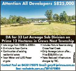 Attention All Developers $825,000 * Lots range from 2250 to 4200m * 5 minute to Town Centre * Contin...