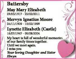 Battersby May Mary Elizabeth 29/05/1917 - 25/02/2011 Mervyn Ignatius Moore 24/11/1909 - 15/02/1999 L...