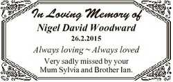 In Loving Memory of Nigel David Woodward 26.2.2015 Always loving  Always loved Very sadly missed by...