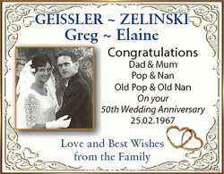 GEISSLER  ZELINSKI Greg  Elaine Congratulations Dad & Mum Pop & Nan Old Pop & Old Nan On...