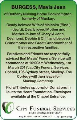 BURGESS, Mavis Jean of Bethany Nursing Home Rockhampton, formerly of Mackay. Dearly beloved Wife of...