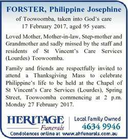 FORSTER, Philippine Josephine of Toowoomba, taken into God's care 17 February 2017, aged 95 year...